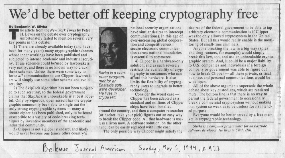 BJA: We'd be better off keeping cryptography free (1994)